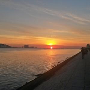Por do Sol, vista da região de Belem - Lisboa