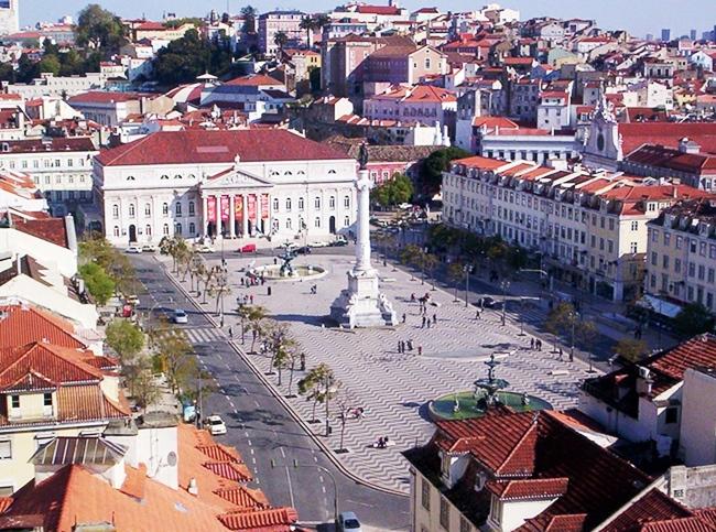Praça Dom Pedro IV ou Praça do Rossio vista do elevador de Santa Justa