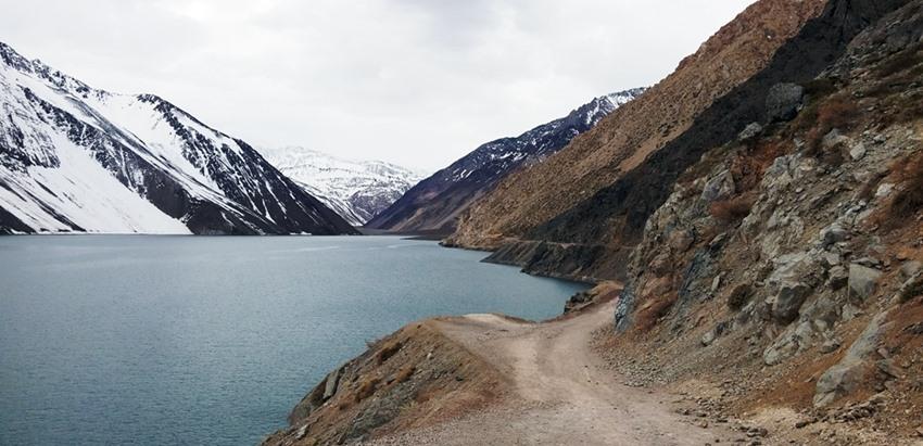 A chegada ao El Yeso, pela foto é possível ter uma ideia de como é a estrada